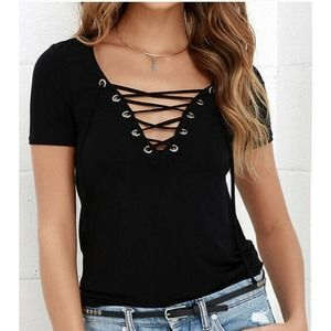 Lulus Enjoy the Ride Lace-Up V-Neck Top S